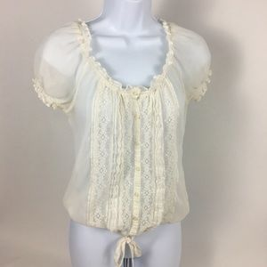 Gilly Hicks Sheer Peasant Boho Lace Top